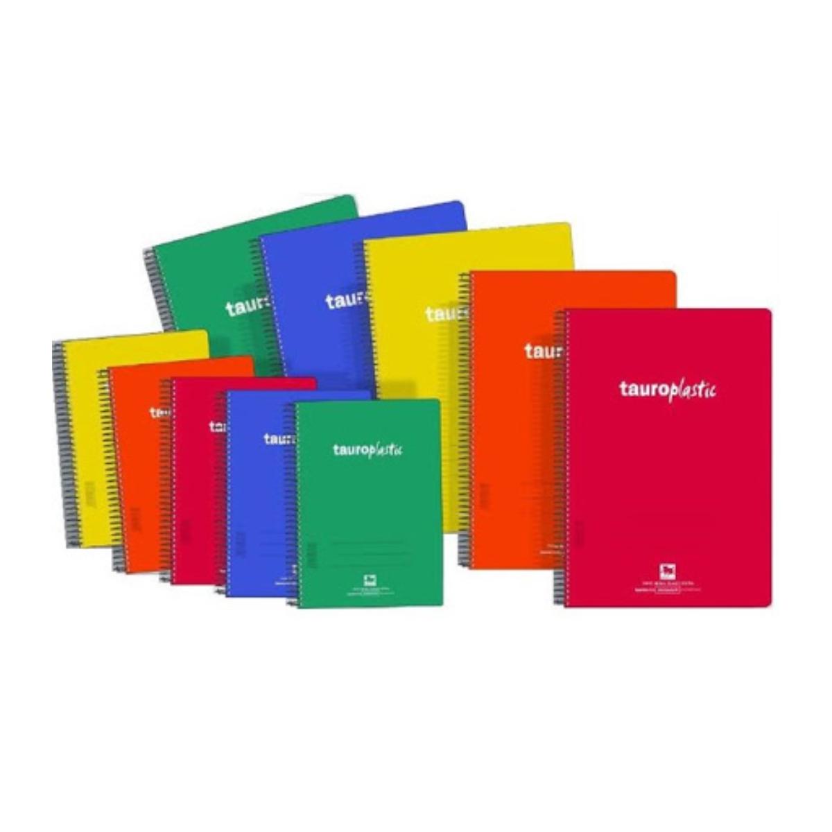 Folio 80H Tapa Plástico Pack x8 Cuadernos Espiral TAURO Plastic