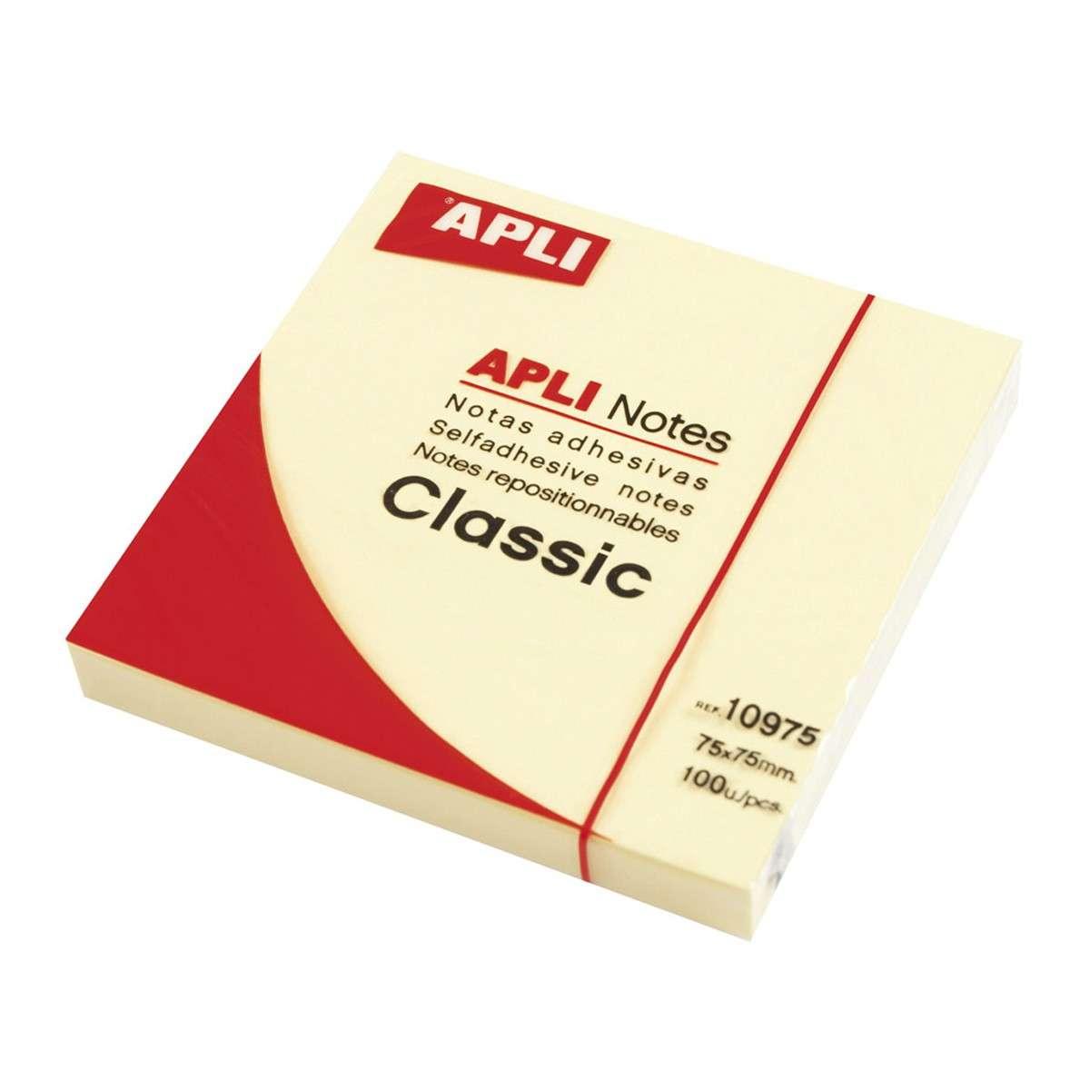 10976 Notas adhesivas CLASSIC 125 x 75 mm bloc de 100 hojas color amarillo Notas adhesivas CLASSIC 75 x 75 mm cubo de 400 hojas color amarillo APLI 11597