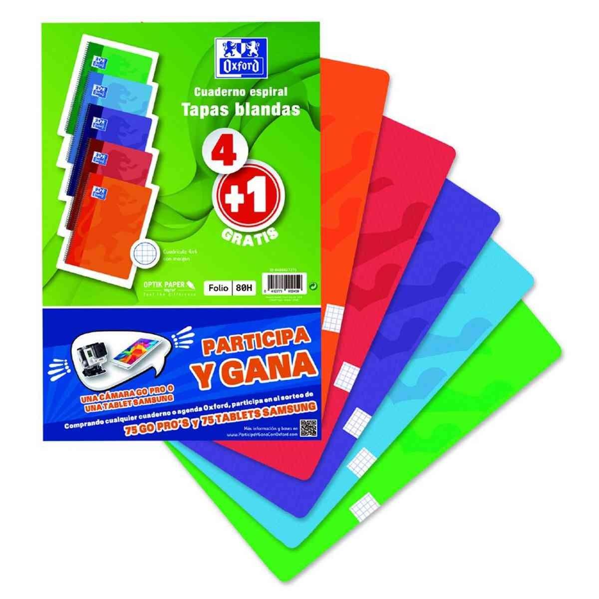 Folio 80H Tapa Dura Cuadros 4 mm Cuadernos Espiral OXFORD Pack 4+1 Colores Pas