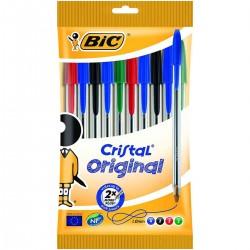 Bolígrafos BIC Cristal Original Medium, Blister x10 Surtidos