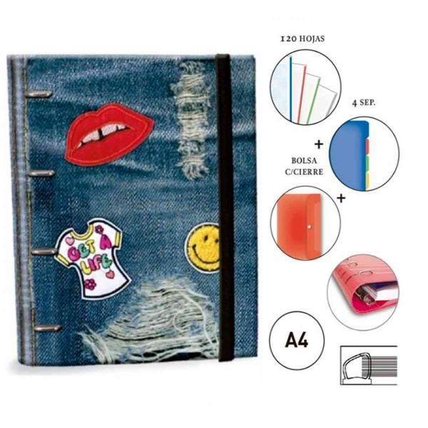 Carpeta Equipada KATACRAK Stickers Jeans, Din-A4 4 Anillas 35 mm.
