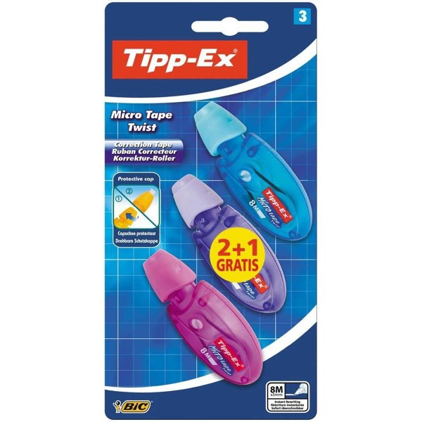 Corrector Cinta TIPP-EX Micro Tape Twist 5mm x 8 m, Blister 2+1