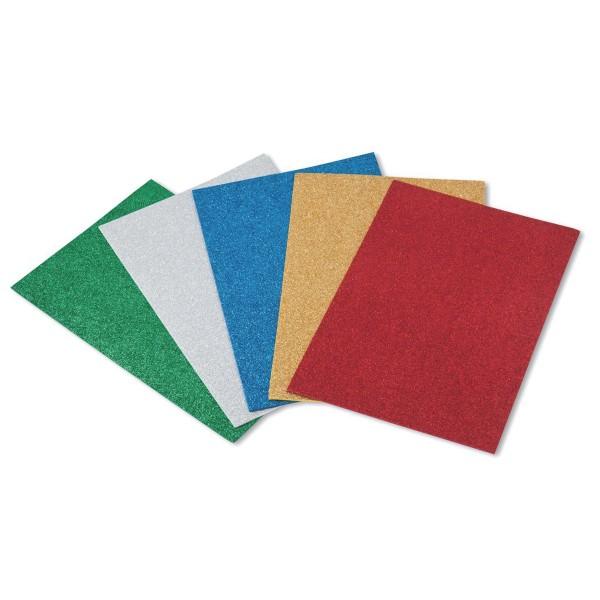 Láminas Goma EVA FAIBO Purpurina, Pack x5 Colores