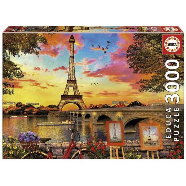 Puzzle EDUCA 3000 Piezas, Puesta De Sol En París
