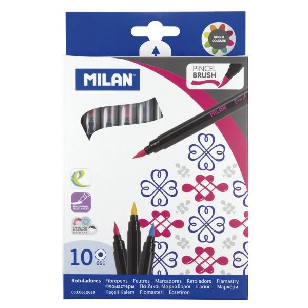 Rotuladores MILAN Pincel Brush, Caja x10 Colores