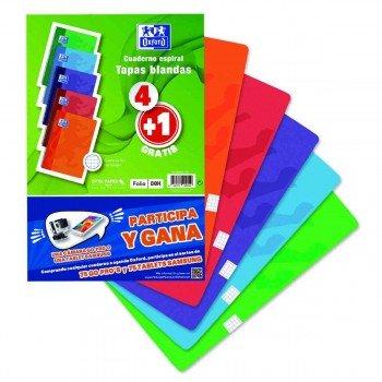 Cuadernos Espiral OXFORD Folio 80H Tapa Básica Cuadros 4 mm. Pack 4+1 Colores Vivos