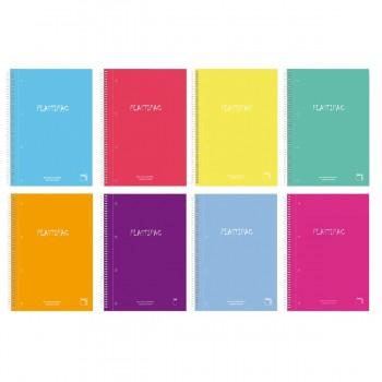 Cuadernos Espiral PACSA Plastipac Microperforado, Din-A4 Tapa Plástico Cuadrovías 5 mm, Pack x4