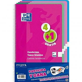 Cuadernos Espiral OXFORD Folio 80H Tapa Básica Cuadros 4 mm. Pack 4+1 Colores Pastel