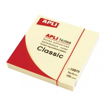 Bloc Notas Adhesivas APLI Post-it Classic 75 x 75 mm. Amarillo
