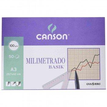 Bloc Encolado Milimetrado CANSON Basik Din-A3 100g/m2, x50 Hojas