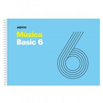 Cuaderno Música ADDITIO M05 Basic 6, 6 Pentagramas 155 x 215 mm.