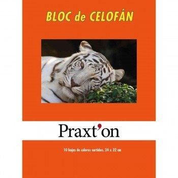 Papel Celofán PRAXTON, Bloc x10 Hojas Surtidas