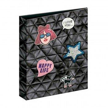 Carpeta Archivador KATACRAK Stickers Happy Life, Folio 4 Anillas 35 mm.