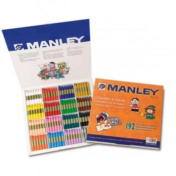 Ceras Blandas MANLEY Formato Escuela, Caja x192 16 Colores