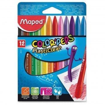 Ceras Plásticas MAPED Color'Peps Plasticlean, Caja x12 Colores