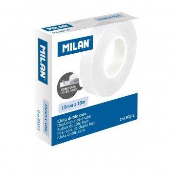 Cinta Adhesiva MILAN Doble Cara, 15 mm. x 10 m. Transparente