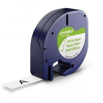 Cinta Rotular DYMO LetraTag, Papel Negro/Blanco 12 mm. x 4 m.