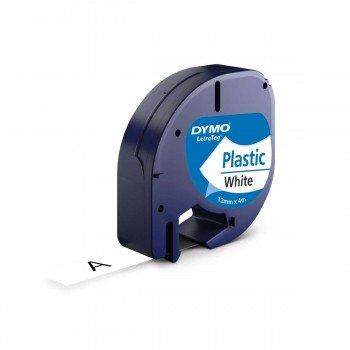 Cinta Rotular DYMO LetraTag, Plástico 12 mm. x 4 m.