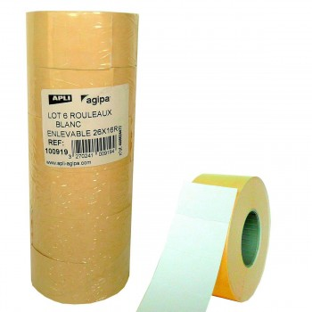 Etiquetas Etiquetadora APLI 26 x 16 mm. Blanco, Pack x6 Rollos