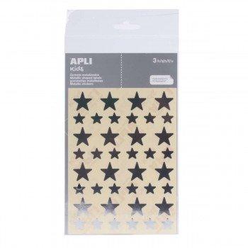 Gomets Estrellas APLI Plata 120 uds.