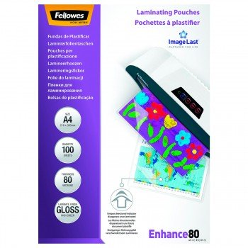 Funda Plastificar FELLOWES Brillo, Din-A4 80 Micras, Caja x100