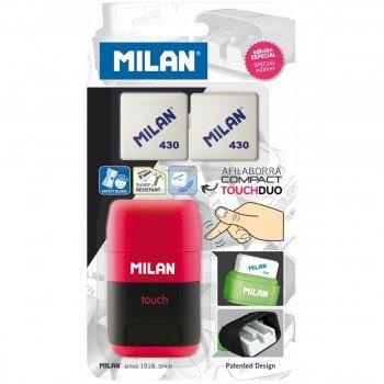 Afilaborras MILAN Compact Touch + 2 Gomas Recambio, Blister Colores Surtidos