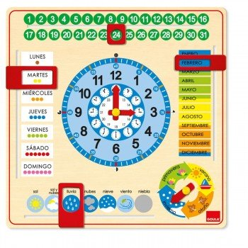 Juego Educativo GOULA, Reloj Calendario Escolar Castellano