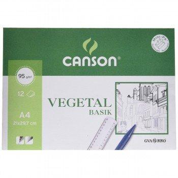 Papel Vegetal CANSON Basik Din-A4 95g/m2, x12 Hojas