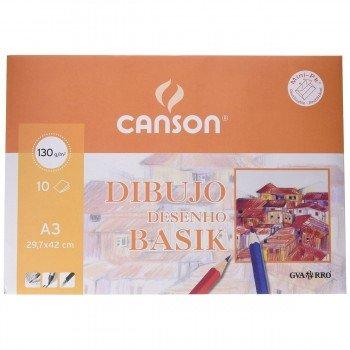 Papel Dibujo CANSON Basik Liso Din-A3 130g/m2, x10 Hojas