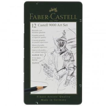 Lápiceros Grafito FABER-CASTELL 9000 Art Set, Estuche Metal x12