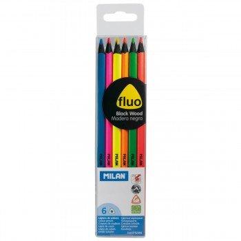 Lápices Color MILAN Fluo, Blister x6 Colores