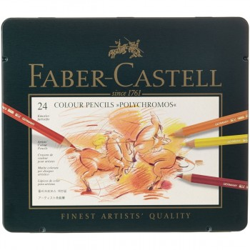 Lápices Polychromos FABER-CASTELL, Estuche Metal x24 Colores