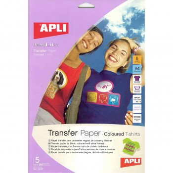 Papel Transfer APLI Camisetas Color Din-A4, Pack x5