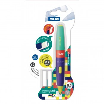 Portaminas MILAN Compact Mix 0,7 mm. 2B + 2 Gomas Recambio