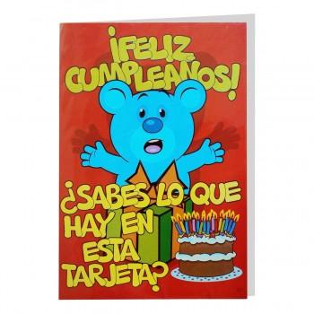 Tarjeta Felicitación CRAPOS Gigante, Cumpleaños Tarta 50 x 34 cm.