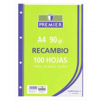 Recambio TAURO Premier Din-A4 100H 4T 90 gr. Cuadrovías 4 mm.