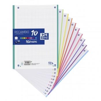 Recambio OXFORD 10 Colores, Din-A4 160H 4T 90 gr. Cuadros 5 mm.