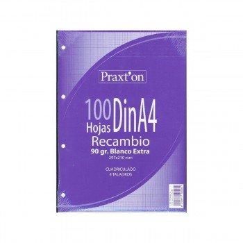 Recambio PRAXTON Din-A4 100H 4T 90 gr. Cuadrovías 4 mm.