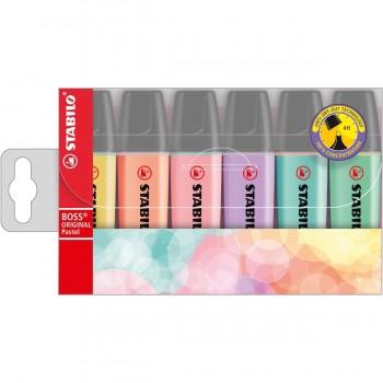 Marcadores Fluorescentes STABILO BOSS Original Pastel, Blister x6 Colores