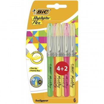 Marcadores Fluorescentes BIC Highlighter Flex, Pack 4+2