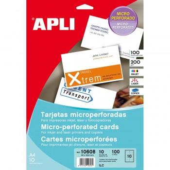 Tarjeta Visita APLI Microperforada Blanco Mate 90 x 50,8 mm, Pack x 100